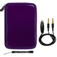 Purple Carbon Fiber Durable Slim Protective Eva Storage Cover Cube Carrying Case with Mesh Pocket For The Tegra 3 packed ASUS Eee Pad MeMO 370T Android 7 Tablet + Includes a 3.5mm Stereo Audio Cable With Built In Microphone