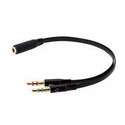 Andoer Portable 4 Segment 3.5mm Female to 3 Segment Male Audio Cable Connect Laptop Desktop Computer Tablet PC Headset Headphone Earphone Microphone Black