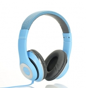 AUSDOM Lightweght wire Over-Ear HD stereo headset Soft leather ear cups with In-line Mic - Blue
