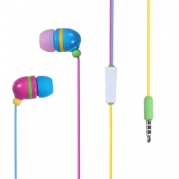 Importer520 New Design Handsfree Stereo Earphones Earbuds with Microphone For Pantech Laser P9050 (AT&T)- Rainbow
